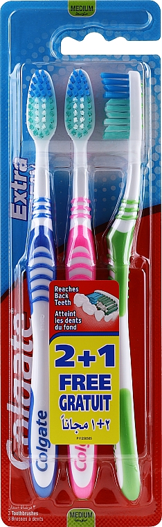 Зубная щетка, средняя, синяя + розовая + зеленая - Colgate Extra Clean Medium — фото N1