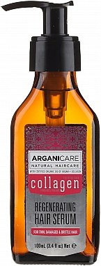 Ser cu colagen pentru păr - Arganicare Collagen Regenerating Hair Serum — Imagine N2
