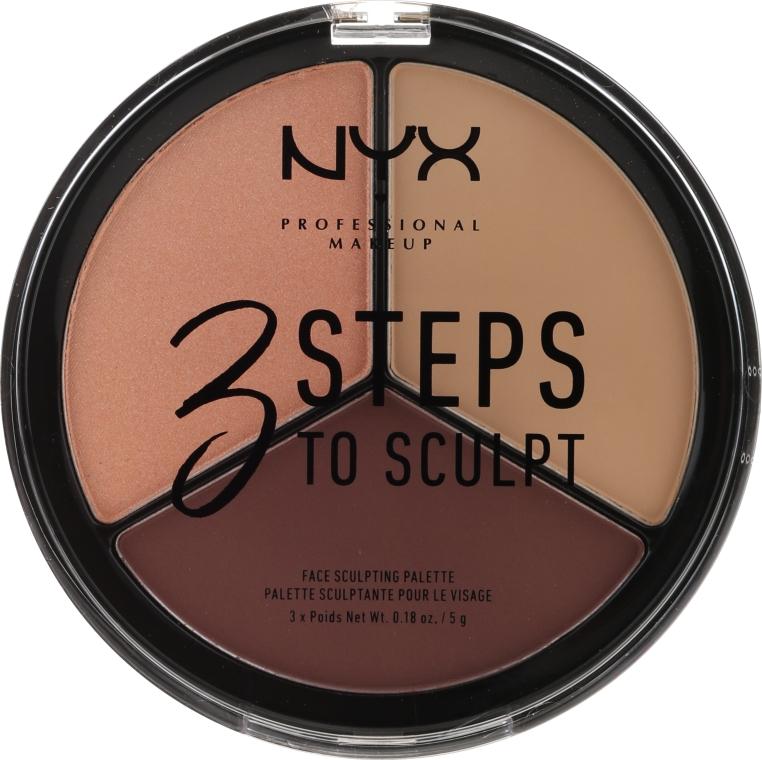 Paletă pentru conturarea feței - NYX Professional Makeup 3 Steps To Sculpting Palette