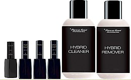 Parfumuri și produse cosmetice Set - Pierre Rene Hybrid 3 Color №12 (primer/11ml+laquer/11ml+top/coat/11ml+base/coat/11ml+cleaner/150ml+remover/150ml)