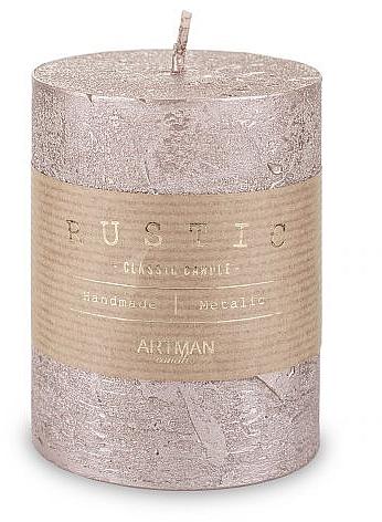 Lumânare decorativă, roz-auriu, 7x10 cm - Artman Rustic Metalic — Imagine N1