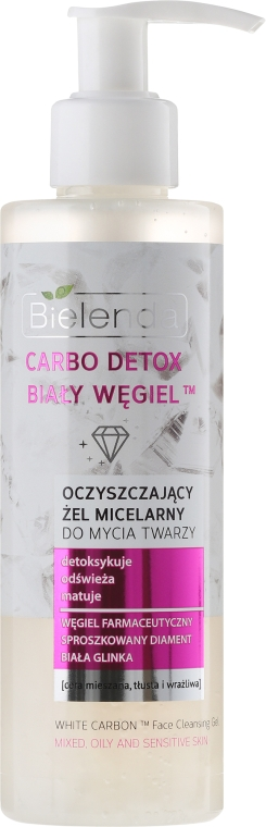 """Gel de curățare matifiant pentru spălarea și eliminarea machiajului """"Cărbune alb"""" - Bielenda Carbo Detox Micellar Gel"""