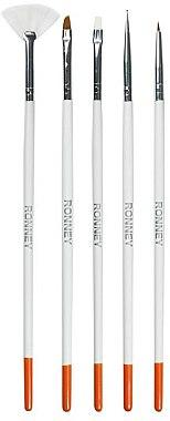 Set perii pentru designul unghiilor, RN 00462 - Ronney Professional (5 bucăți) — Imagine N1