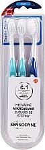 Parfumuri și produse cosmetice Set periuțe de dinți, moi, albastră + albastră - Sensodyne Gentle Care Soft Toothbruhs
