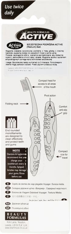 Periuță de dinți pentru călătorii, roză - Beauty Formulas Voyager Active Folding Dustproof Travel Toothbrush Medium — Imagine N2