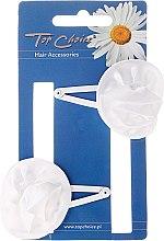 """Parfumuri și produse cosmetice Clamă pentru păr """"White Collection"""" 23644, albă, 2 buc. - Top Choice"""