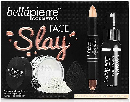 Набор - Bellapierre Face Slay Kit Fair/Medium (stick/8.6g + powder/6.5g + spray/70ml + sponge/1pcs) — фото N1