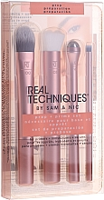 Parfumuri și produse cosmetice Set 3 pensule de machiaj + rolă masaj pentru zona ochilor, aur roz - Real Techniques by Sam and Nic Prep + Prime Set