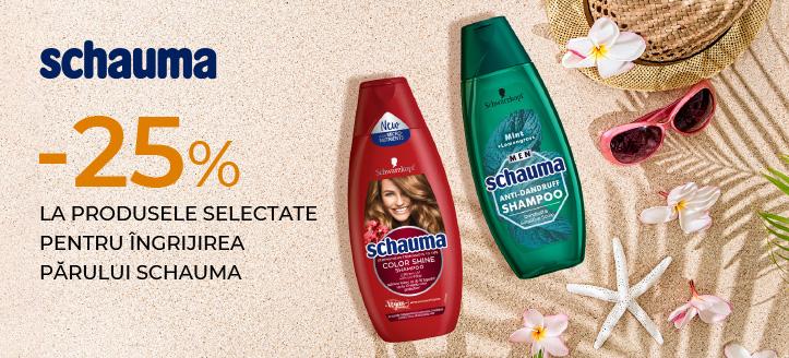 Reducere 25% la produsele selectate pentru îngrijirea părului Schauma. Prețurile pe site sunt prezentate cu reduceri