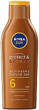 """Parfumuri și produse cosmetice Loțiune cu protecție solară pentru corp """"Protecție și bronz"""" - Nivea Sun Protect & Bronze Tan Activating Lotion SPF6"""