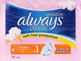 Parfumuri și produse cosmetice Absorbante, 10 bucăți - Always Classic Normal Sensitive