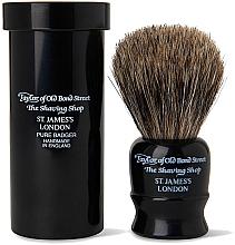 Parfumuri și produse cosmetice Pămătuf de ras, 8,25 cm, cu husă de călătorie, neagră - Taylor of Old Bond Street Shaving Brush Pure Badger