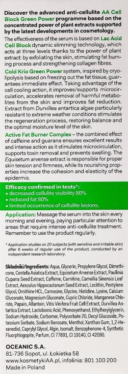 Ser Anticelulitic de corp - AA Cosmetics Cell Block Green Power Anti-Cellulite Serum — Imagine N3