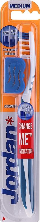 Periuță de dinți, duritate medie + capac, albastră - Jordan Advanced Medium — Imagine N1