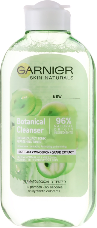 "Tonic pentru față ""Extract de struguri"" - Garnier Skin Naturals Botanical Grape Extract Cleanser Toner"