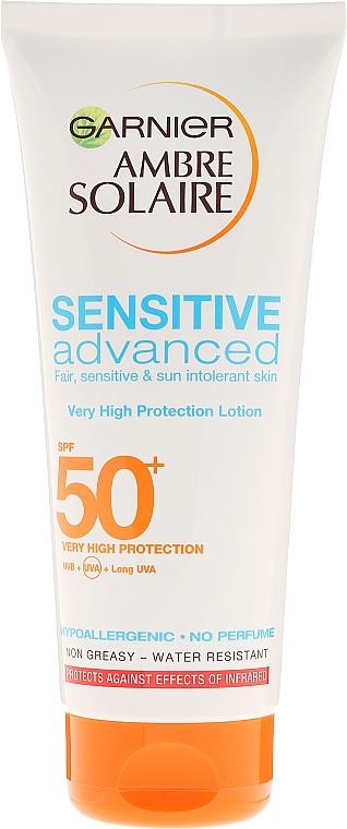Lapte de protecție solară pentru pielea sensibilă - Garnier Ambre Solaire Sensitive Advanced SPF 50+