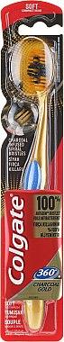 Periuță de dinți, moale, auriu cu albastă - Colgate 360 Charcoal Gold Soft Toothbrush