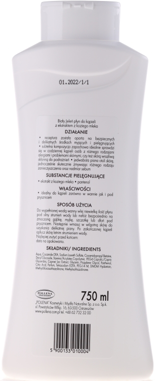 Gel-spumă cu lapte de capră pentru baie - Bialy Jelen Hypoallergenic Bath Lotion With Goat Milk — Imagine N3