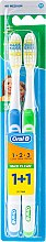 Parfumuri și produse cosmetice Set periuțe de dinți, medium (albastru+verde) - Oral-B 1 2 3 Maxi Clean 40 Medium 1+1
