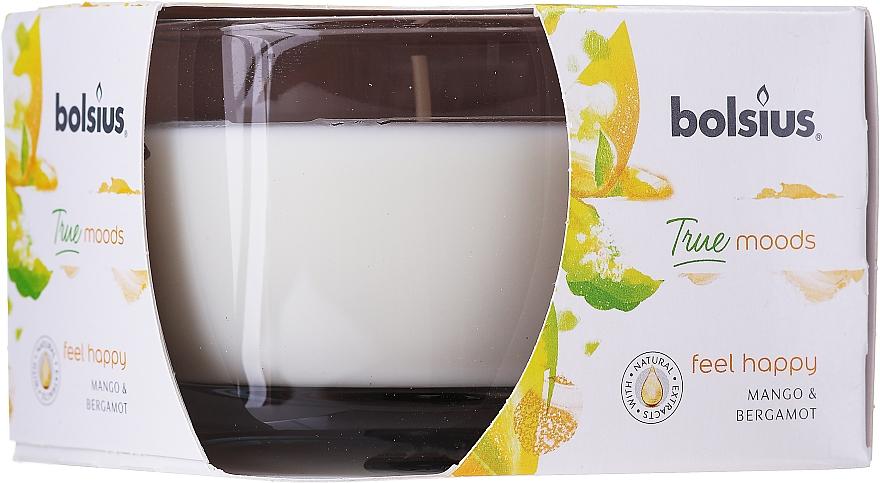 """Lumânare aromată în suport de sticlă """"Mango și Bergamotă"""", 63/90 mm - Bolsius True Moods Candle"""