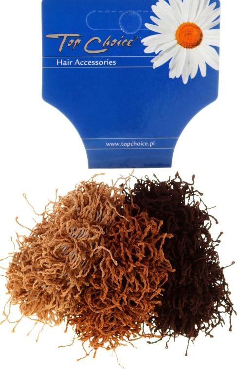 """Elastice de păr """"Spaghetti"""" 3 bucăți, maro - Top Choice"""