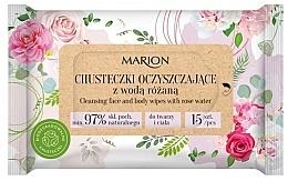 Parfumuri și produse cosmetice Șervețele de curățare cu apă de trandafir pentru față și corp, 15buc - Marion