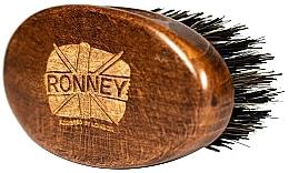 Parfumuri și produse cosmetice Perie din lemn, cu peri naturali, pentru barbă, închisă la culoare - Ronney Professional Barber Small Brush