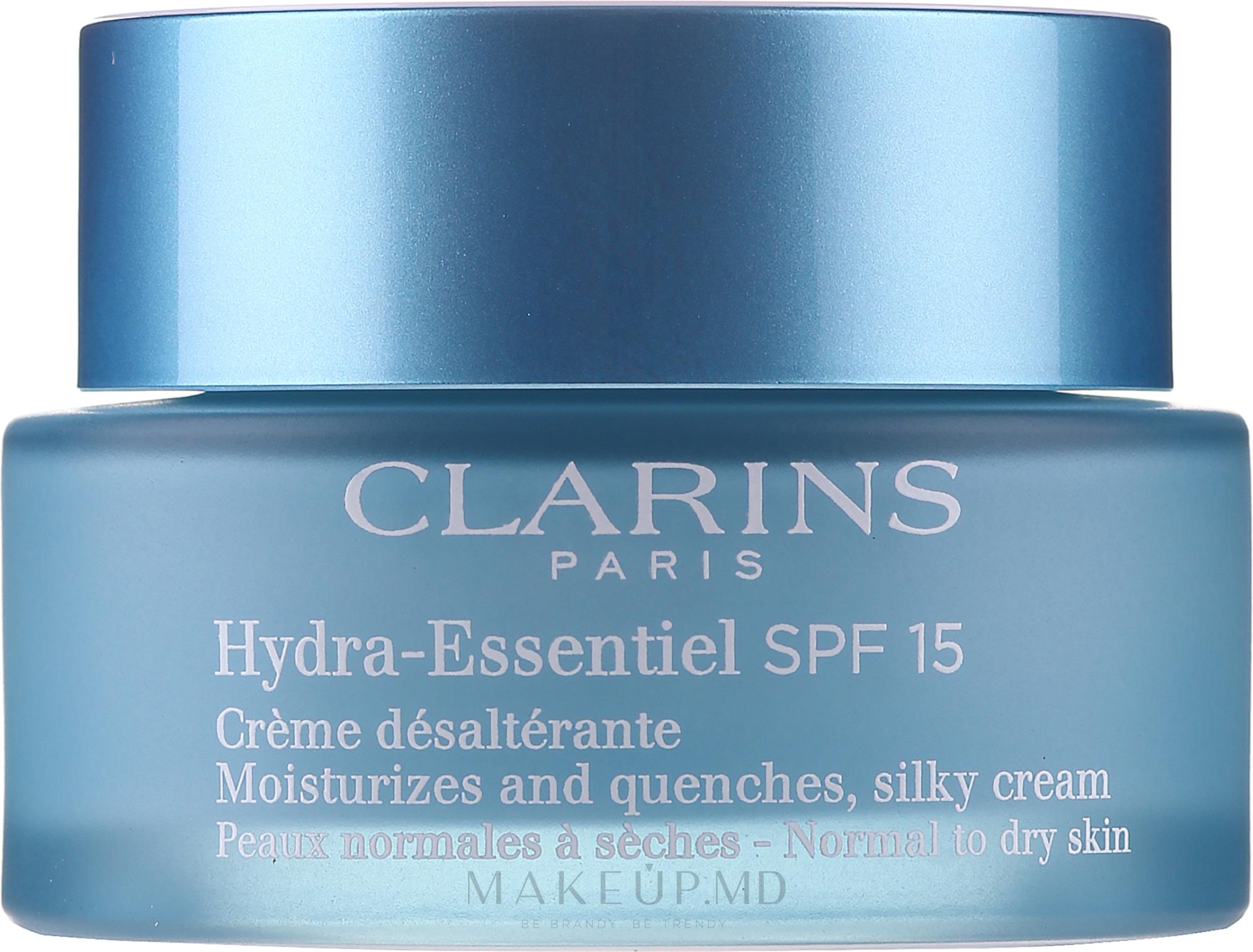 Cremă hidratantă pentru pielea normală și uscată - Clarins Hydra-Essentiel Silky Cream SPF 15 Normal to Dry Skin — Imagine 50 ml