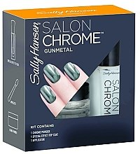 Parfumuri și produse cosmetice Set - Sally Hansen Salon Chrome Gunmetal (chrome powder/1g + top coat/5ml + applicator)