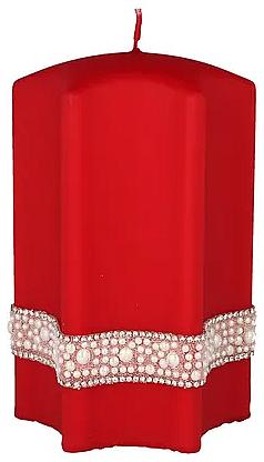 """Lumânare decorativă """"Stea"""", roșie, 9x14cm - Artman Crystal Opal Pearl"""