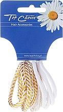 """Духи, Парфюмерия, косметика Резинки для волос """"White Collection"""", белые, 12 шт - Top Choice"""