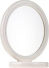Parfumuri și produse cosmetice Oglindă rotundă cu două fețe, suport, 15 cm, 9502, albă - Donegal Mirror