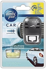 "Parfumuri și produse cosmetice Set aromatizator auto ""Apă"" - Ambi Pur (freshener/1szt + refill/7ml)"
