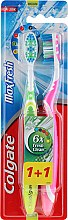 """Parfumuri și produse cosmetice Periuțe de dinți, medii """"Max Fresh"""", verde și roz - Colgate Max Fresh Medium (2 szt.)"""