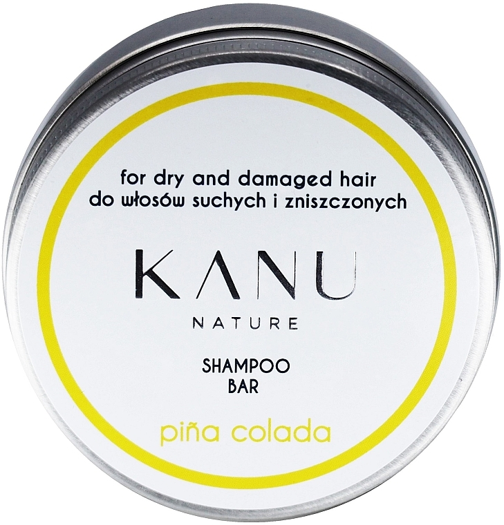 Șampon pentru păr uscat și deteriorat, cutie matalică - Kanu Nature Shampoo Bar Pina Colada For Dry And Damaged Hair