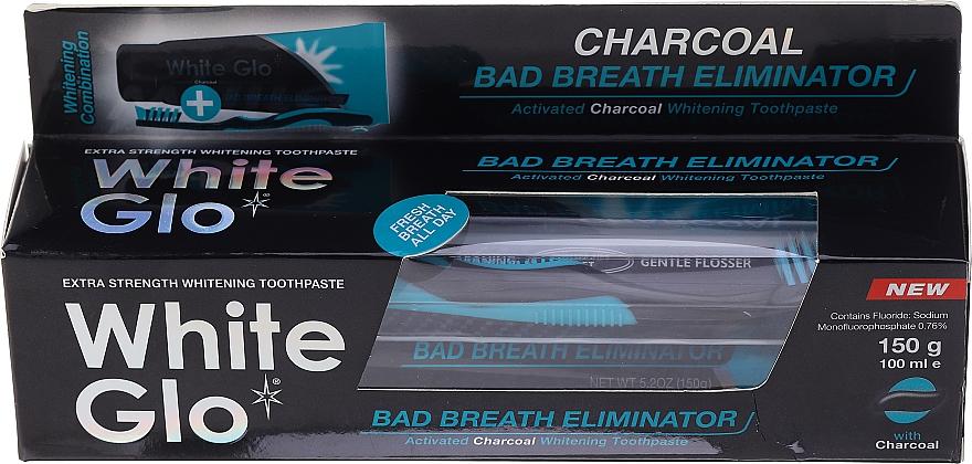 """Set """"Respirație proaspătă"""" neagră și albastră - White Glo Charcoal Bad Breath Eliminator (t/paste/100ml + t/brush/1) — Imagine N1"""