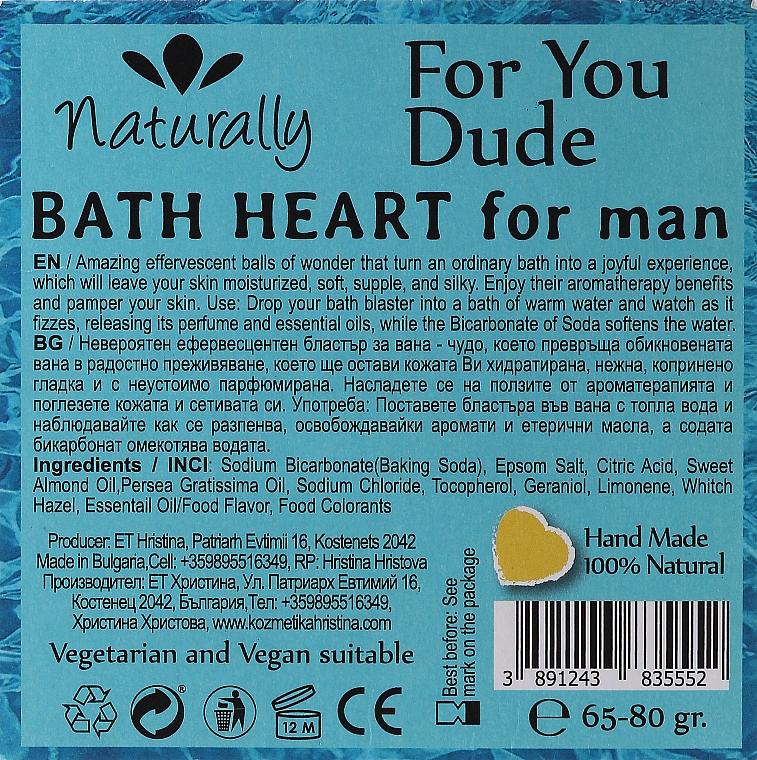 Bombă efervescentă pentru baie - Hristina Cosmetics Naturally For Yuo Due Bath Heart For Man — Imagine N2