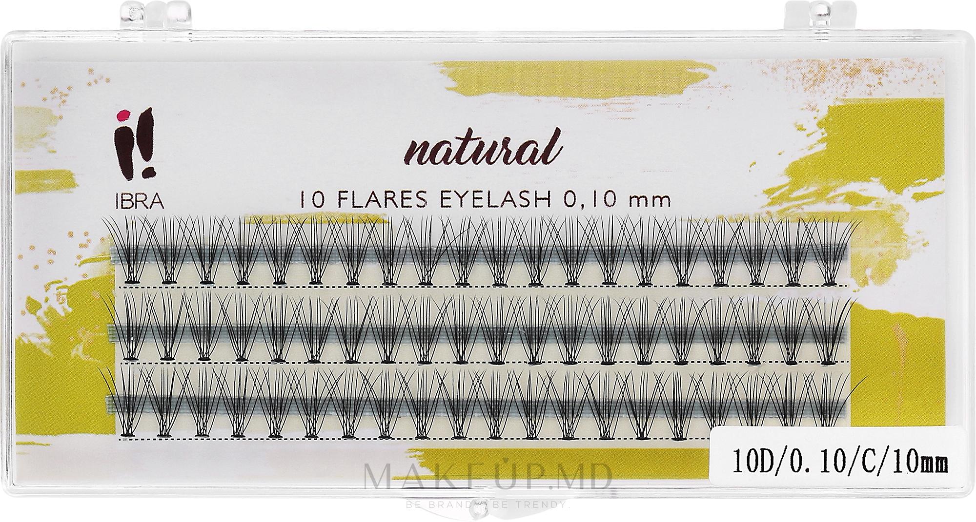 Gene false, 0.10/C/10 mm - Ibra 10 Flares Eyelash Knot Free Naturals — Imagine 60 buc
