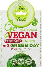 "Parfumuri și produse cosmetice Mască de față ""Nr.3 Green Day"" - 7 Days Go Vegan Wednesday Green Day"