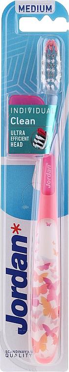 Periuță de dinți, medie, cu capac de protecție, roz cu fluturi - Jordan Individual Clean Medium — Imagine N1
