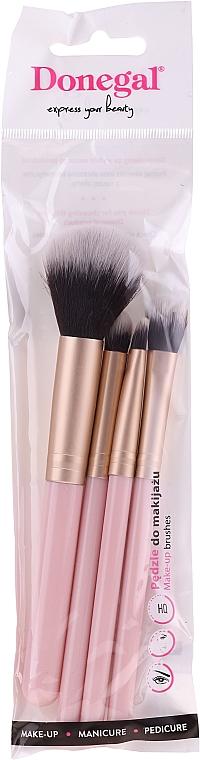 Set pensule pentru machiaj, 4 bucăți, roz - Donegal