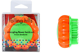 """Parfumuri și produse cosmetice Perie compactă de păr """"Mușețel"""", orange / verde - Rolling Hills Brosse Demelante Flower"""
