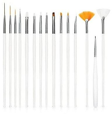 Set pensule pentru unghii, albe, 15 buc - Deni Carte