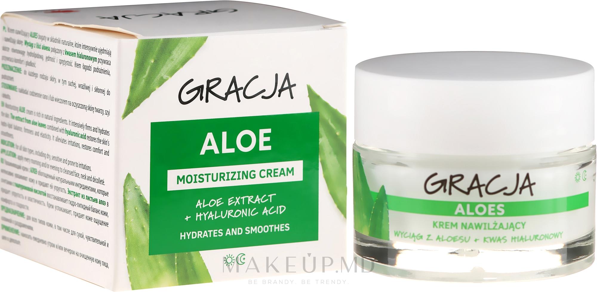 Cremă hidratantă antirid cu aloe și acid hialuronic - Miraculum Gracja Aloe Moisturizing Face Cream — Imagine 50 ml