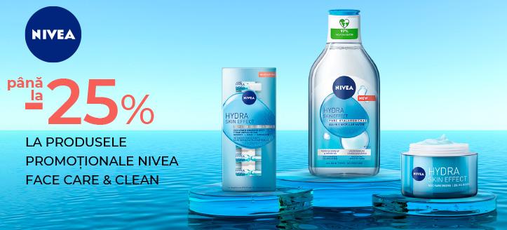 Reducere 25% la produsele promoționale Nivea Face Care & Clean. Prețurile pe site sunt prezentate cu reduceri