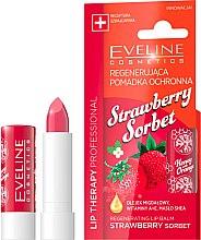 """Parfumuri și produse cosmetice Balsam de buze """"Căpșuni"""" - Eveline Cosmetics Lip Therapy Proffesional Regenearting Lip Balm Strawberry Sorbet"""