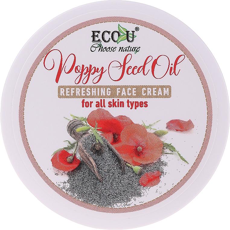 Cremă cu ulei de semințe de mac pentru toate tipurile de ten - Eco U Poppy Seed Oil Refreshing Face Cream For All Skin Type — Imagine N1
