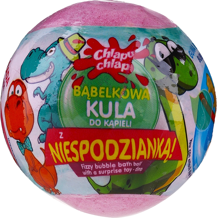 """Bombă efervescentă de baie """"Dino"""", cu surpriză, roz - Chlapu Chlap — Imagine N1"""
