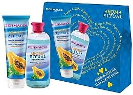 "Parfumuri și produse cosmetice Set ""Papaya și mentă"" - Dermacol Aroma Ritual Papay & Mint (sh/gel/250ml + b/foam/500ml)"