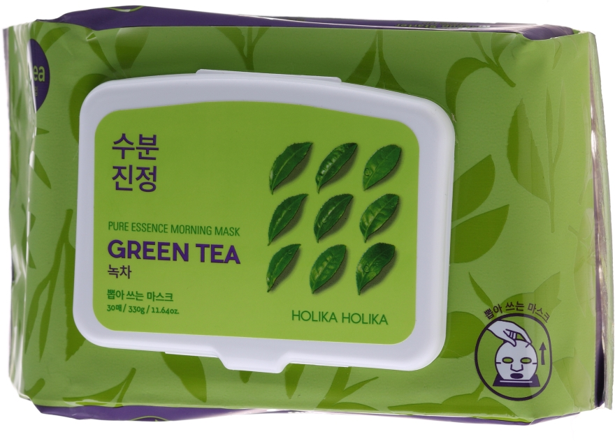 Mască de față cu ceai verde - Holika Holika Pure Essence Morning Mask Green Tea